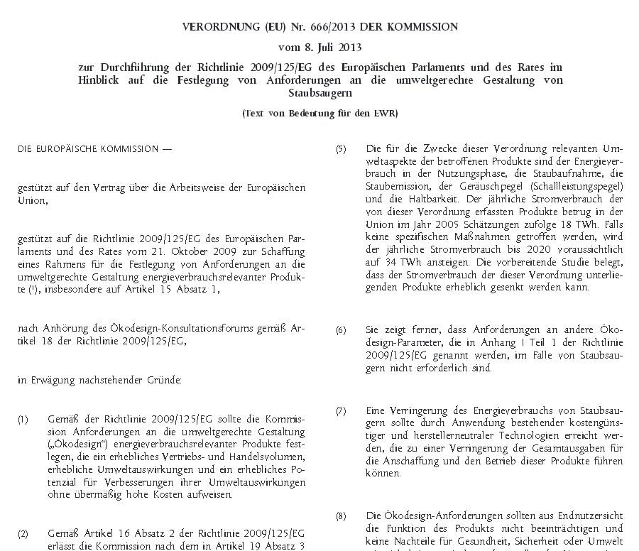 EU-Richtlinie zur Beschränkung der Wattzahlen bei Staubsaugern